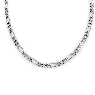 "24"" Rhodium Plated Brass Figaro Chain Necklace"