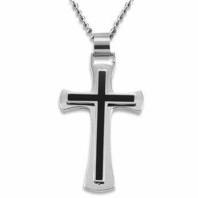 Stainless Steel Polished Black Resin Inlay Cross - 24 Inch Ball Chain