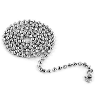 Stainless Steel Dog Tag with Pave Set CZ Bezel and CZ Cross on a 24 Inch Chain
