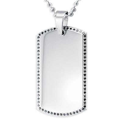 Stainless Steel Mens Dog Tag with Black Pave Set CZs on a 24 Inch Chain