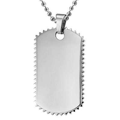 Stainless Steel Mens Dog Tag With Spiked Edges on a 24 Inch Chain
