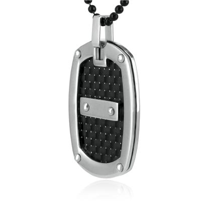 Stainless Steel Oval Pendant with Black Carbon Fiber Inlay on a 24 Inch Ball Chain
