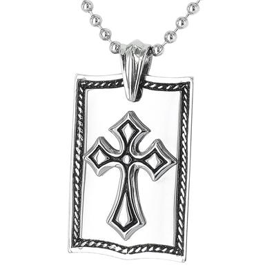 Polished Stainless Steel Cross Dog Tag on a 24 Inch Chain
