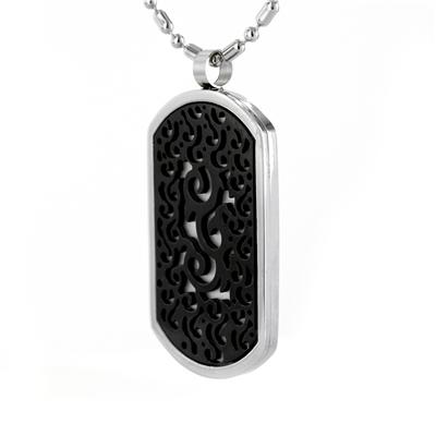 Stainless Steel 2 Layer Dog Tag with Black Plating on a 24 Inch Chain