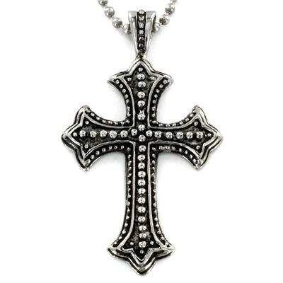 Stainless Steel Antiqued Cross Pendant