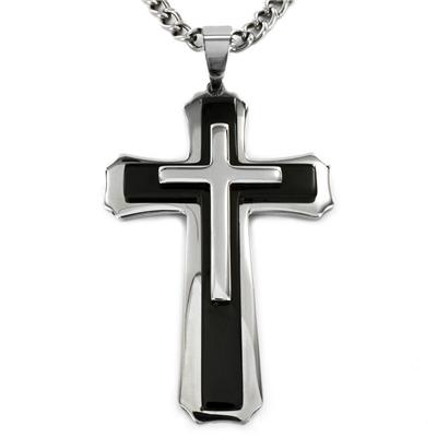 Stainless Steel Black Plated Cross Pendant