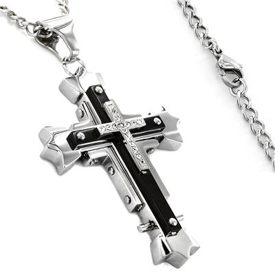 Two-tone Stainless Steel Cubic Zirconia Cross Necklace
