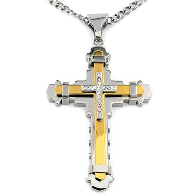 Two-tone Stainless Steel Cubic Zirconia Multi-layer Cross Necklace - Goldtone