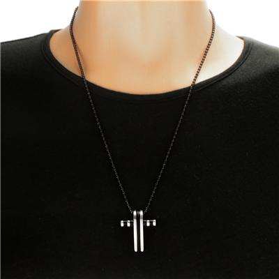 Stainless Steel Black Plated Cross on a 24 Inch Ball Chain