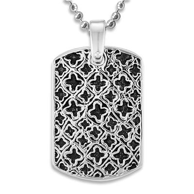 Stainless Steel Medieval Antiqued Dog Tag on a 24 Inch Chain