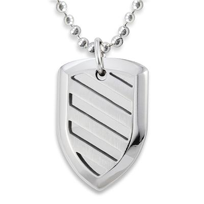 Stainless Steel Polished Shield Pendant on a 24 Inch Chain