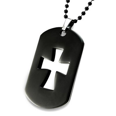 Stainless Steel 2-Piece Black Plated Laser Cutout Cross on a 24 Inch Chain