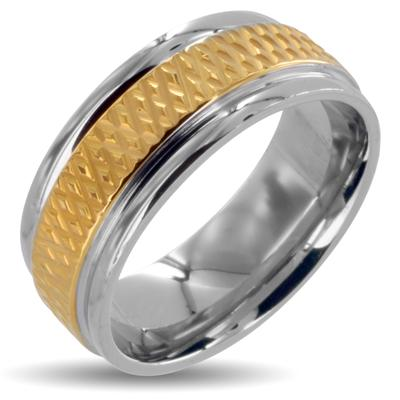 316L Stainless Steel Rings/Grooved IP Gold Center - 8MM