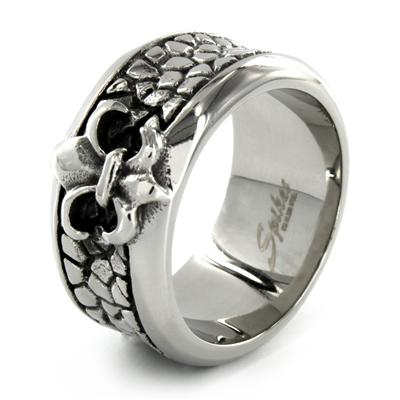 Stainless Steel Smooth Royal Fleur De Lis Over Textured Band Ring