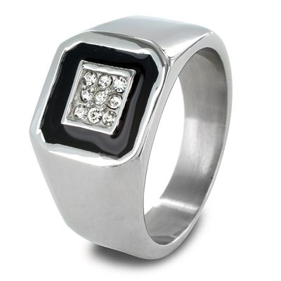 Stainless Steel Mens Cubic Zirconia and Black Enamel Inlay Ring