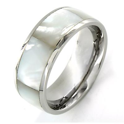 Stainless Steel Faceted Mother of Pearl Inlay Ring
