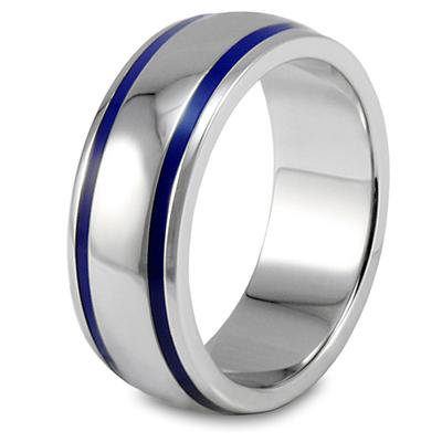 Domed Polished Stainless Steel Ring with Blue Enamel Lines
