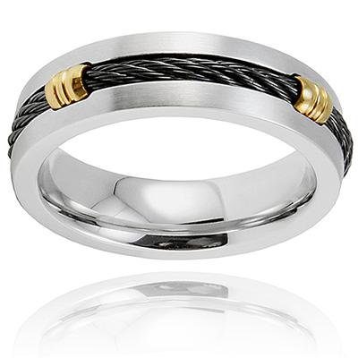 Stainless Steel Ring with Black Cable and Gold Plated Barrels