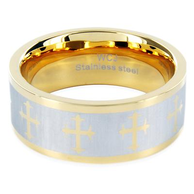 Goldplated Stainless Steel Ring with Crosses Laser Design