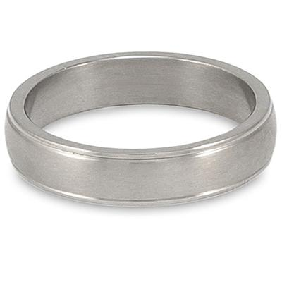 Grooved Brushed and Polished Titanium Ring (6mm)