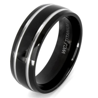 Black Plated Titanium Ring with Grooved Lines (7mm)