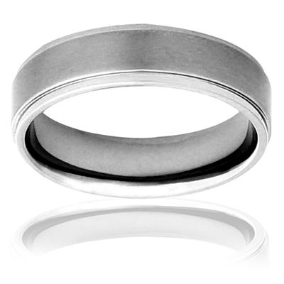 Brushed and Polished Titanium Ring (7mm)