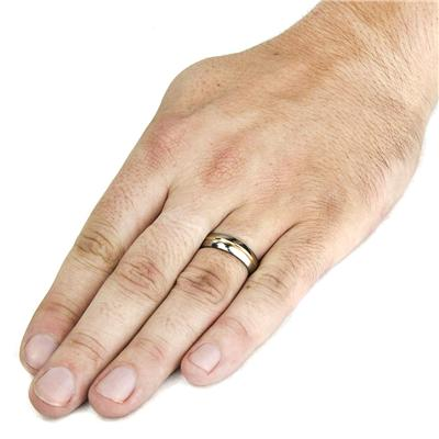 Polished Gold Plated Grooved Titanium Ring (6mm)