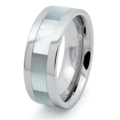 Titanium with Mother of Pearl Inlay 8mm Ring