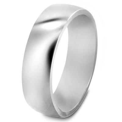 Solid Titanium 6mm Wide Glossy Mirror Polished Traditional Wedding Band Ring