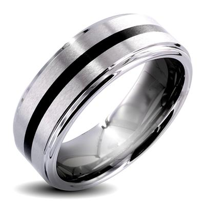 Tungsten Carbide Ring with Black IP Center 8mm