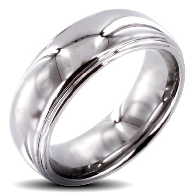 Tungsten Carbide Shiny Finish 2 Tier Band