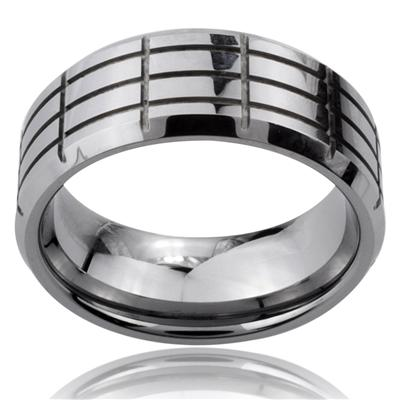 Tungsten Carbide Multi Cross Groove Beveled Edge Band Ring
