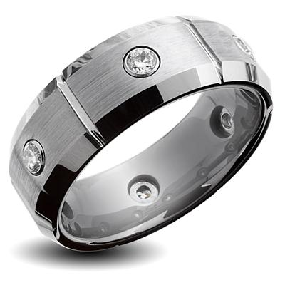 Tungsten Carbide Multi Grooves with CZs Brushed Center Beveled Band Ring