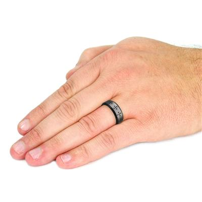 Tungsten Carbide Black IP Laser Etched Multi Cross Band Ring
