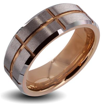 Tungsten Carbide Brushed Center Pink Gold IP Cross Grooved Band Ring