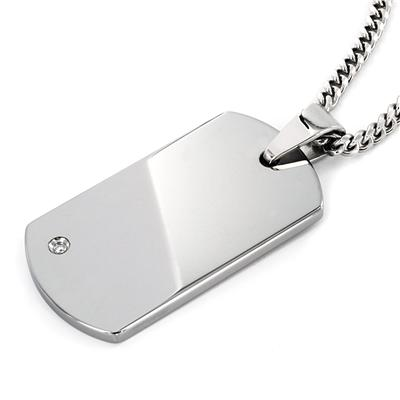High Polished Tungsten Carbide Diamond Dog Tag on 24 Inch Curb Chain (Engraveable)