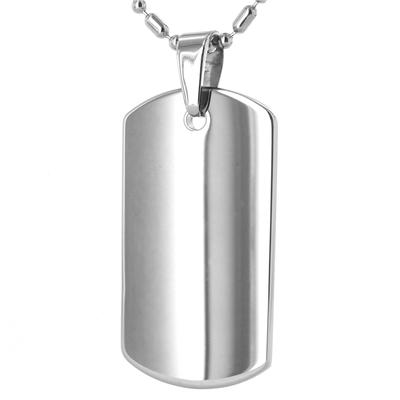 "Tungsten Carbide Dog Tag on 24"" Ball-Bar Chain"
