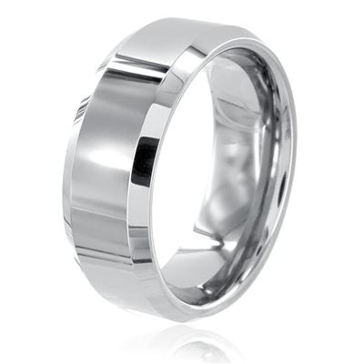 Beveled Edge Polished Tungsten Carbide Ring (8mm)