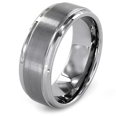 Ridged Edge Brushed and Polished Tungsten Carbide Ring (9mm)