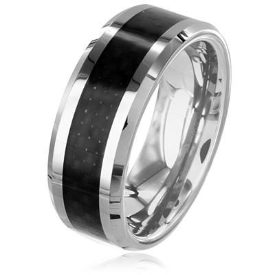 Polished Tungsten Carbide Ring with Black Carbon Fiber Inlay (8mm)