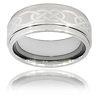Ridged Edge Polished Tungsten Carbide Ring with Celtic Knot Laser Design