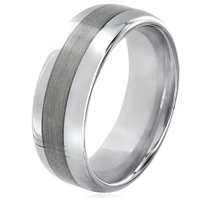 Domed Brushed and Polished Tungsten Carbide Ring (8mm)