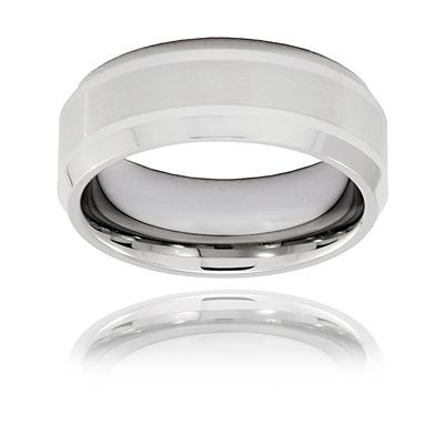 Brushed and Polished Beveled Edge Tungsten Carbide Ring (8mm)