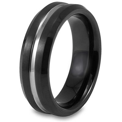 Beveled-Edge Black Plated Grooved Tungsten Carbide Ring