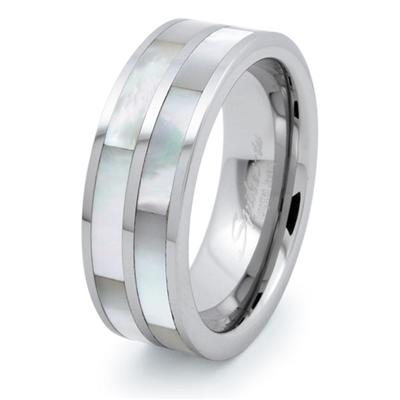 Tungsten Carbide 8mm Ring with Dual Mother of Pearl Inlays