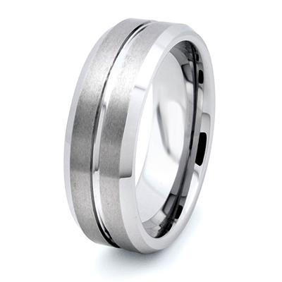 Tungsten Carbide Ring 8mm with Matte Finish and High Polished Center Line