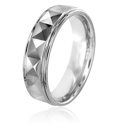 Polished Faceted Tungsten Carbide Ring with Ridged Edge (6.5mm)