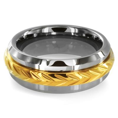 Beveled Edge Tungsten Carbide Ring with Gold Plated Inlay (8mm)