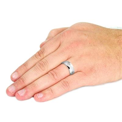 Tungsten Carbide Dia Faceted with MultiCZ Band Ring