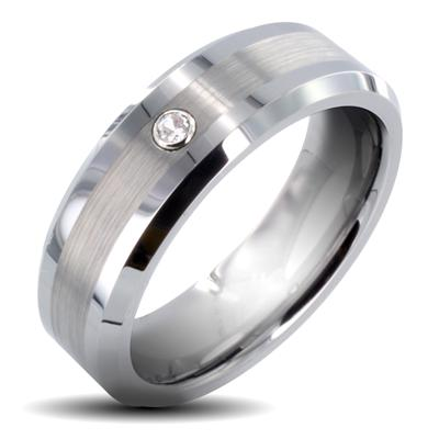 Tungsten Carbide Brushed Center with CZ Band Ring